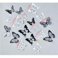 18pc 3d Effect Crystal Butterflies Wall Sticker